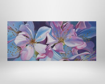 Cherry blossoms, flowers, oil painting, art print on canvas