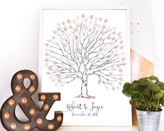 thumbprint tree, wedding keepsake, thumb print tree,  custom wedding gift tree guest book, fall wedding centerpiece, personalized tree