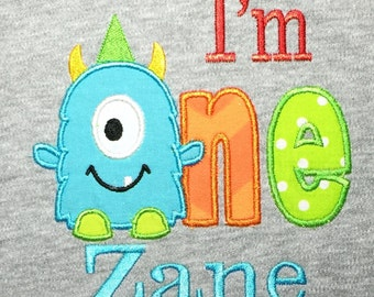 Monster one Birthday shirt or infant bodysuit personalized embroidery and appliqué