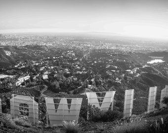 Panoramic Photo of Hollywood Sign in Black and White above Los Angeles