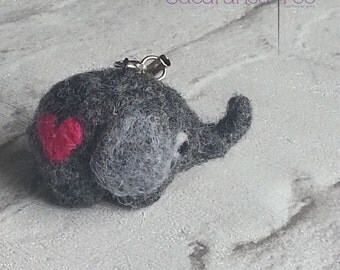Needle felted Elephant lovingly made from natural fibre, Key ring charm. The little red heart adds an extra touch.