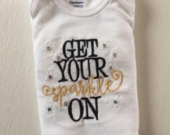 Get Your Sparkle On Embroidered Bodysuit (Onesie)