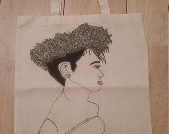 Hand painted tote shopping bag