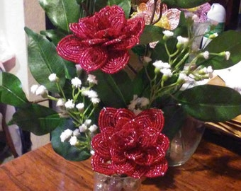 Hand beaded roses