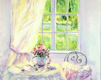 Good morning!, Bright painting, Morning, Flowers, Roses, Lavender, Painting, Home decor, Palette knife, Wall decor, Best gift, Fine Art