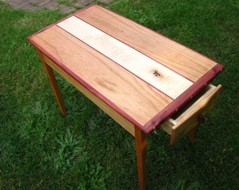 Cherry and curly maple side table
