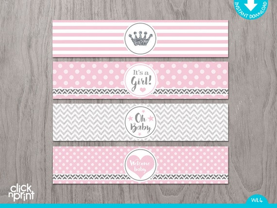 pink and silver baby shower print yourself water bottle labels girl