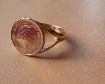 Netherlands coin ring - 9ct - rose gold - 375