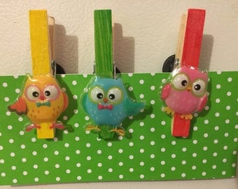 Owl Clothespin Magnets