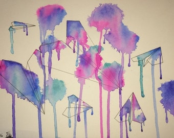 Paint Splattered Paper Airplane Watercolor Painting