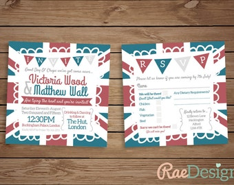 Printable British Union Jack Wedding Invitation and RSVP Set
