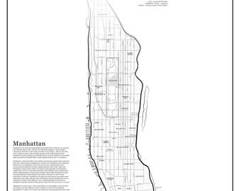 POSTER - POSTER - Manhattan Map - Map of Manhattan - illustration - New York - City