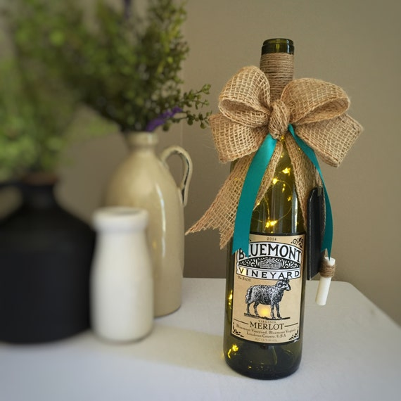 Wine Bottle Light/Cordless Lamp /Farmhouse Decor/Country Home Decor/Ram Sheep Decor/Virginia Wine/Burlap/Teal/Vineyard Decor/Farm Animal