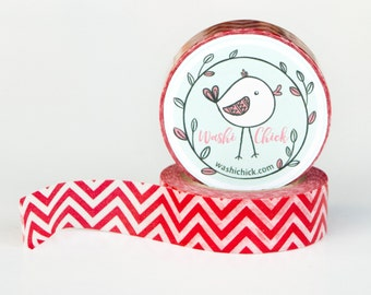 Red Chevron Washi Tape - zig zag red tape, 1 roll, 15mm x 10m