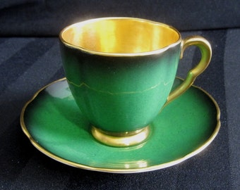 Carlton Ware Espresso Coffee Set Vert Royale Demitasse Cup and Saucer Set With Lustrous Gold Trim