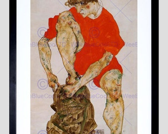 Painting Schiele Female Model In Bright Red Jacket Pants 1914 Old Art Print FE814OMB