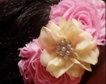 Custome made girls pink and yellow headband