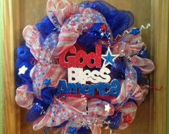 Memorial day/4th of July/ Deco Mesh Wreath