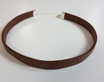 Brown Stitched Imitation Leather Choker