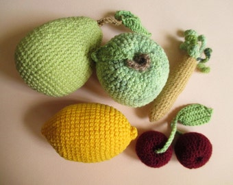 Apple, Lemon, Pear, Cherries, Parsnip -  Set of Fruits Hand Knitted, Crochet Play Food, Hand-Knitted Toys, Home Decor, Soft Handmade Toys