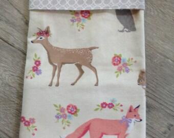 Forest animals baby girl blanket,  SALE cotton swaddling blanket,  receiving blanket