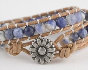 Leather wrap bracelet, beaded bracelet, leather bracelet, women's bracelet, wrap bracelet, leather wrap, sodalite stones, boho, festival