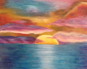 Sunset Oil Pastel Drawing