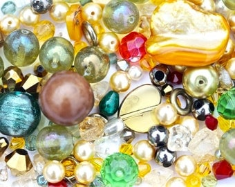 Bead Mix 'Safari' Orange Yellow Green Beads Mixed Lot