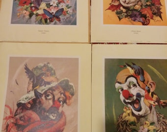 Vintage Set of The Four Seasons Clowns by Cydney