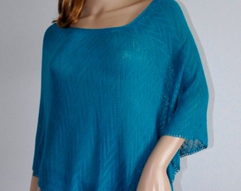 Blue cover up Handmade, Ready to Ship, hand knit women's poncho, blue poncho,  women's poncho, capelet