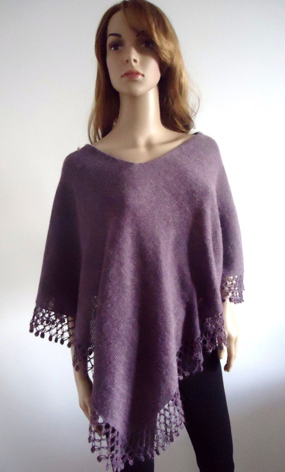 Wool knit poncho Violet purple sweater Hand knitted jumper 100% hand made Women Poncho One size