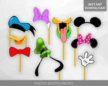 SALE - 80% OFF Disney Photo Booth Props, Birthday Party Decoration, Mickey, Minnie, Pluto, Goofy, Selfies Photograph - Instant Download
