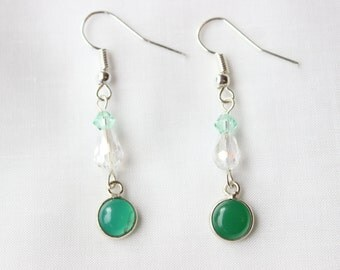 Jade and Clear Crystal Silver Earrings