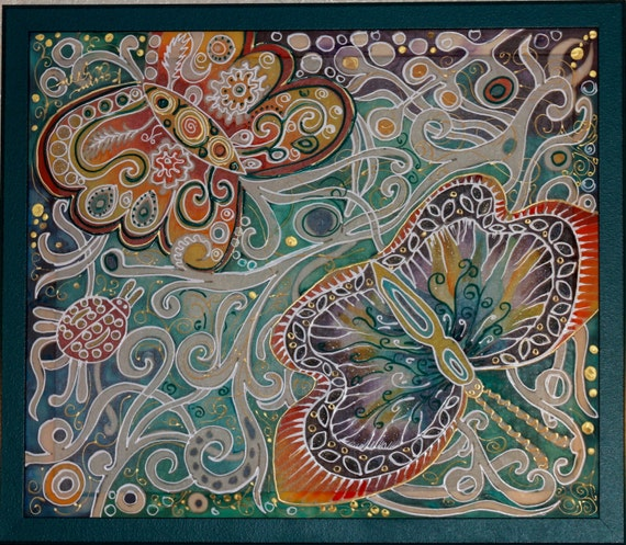 Original Painting on silk,Wall art,Hand painted silk,Batik,Batik Wall Hanging,Home Decor,Butterfly,Green white,Gift for her,Painted silk