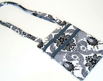 Grey Black and White Damask cross body bag, black white and grey purse