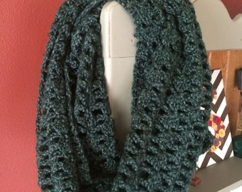 Lacy Crocheted Infinity Scarf