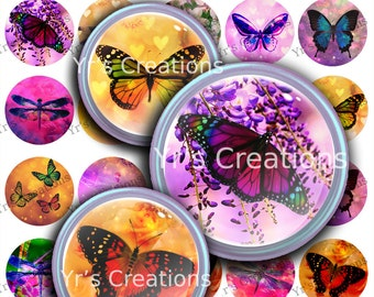 Butterflies and Dragonflies 1.5 inch circle - Printable Digital Collage Sheet - Images for Pendants, Stickers, Art,Mixed Media