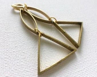 Geometric Earrings,  Brass Earrings, Triangle Earrings, Modern earrings, Industrial Earrings, Brass Earrings, Everyday Earrings, Marquise