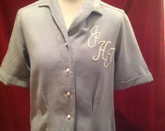 Vintage 1950s Ladies Blouse Woollen Gabardine with Embroidered Initials On   //  018