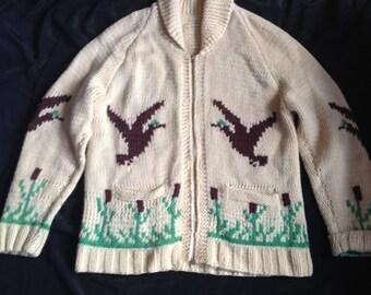 1950s VINTAGE COWICHAN SWEATER / Jumper Jacket / Sweater