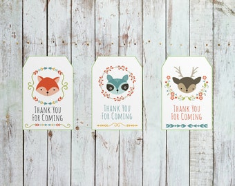 DIY PRINTABLE Woodland Baby Shower Thank You Tags   Instant Download Baby Shower Printable   Woodland Tribal Bohemian  Baby Wishes   BWEE79