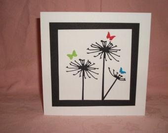 A Handmade Silhouette Card Of Seed Heads & Butterflies  145mm