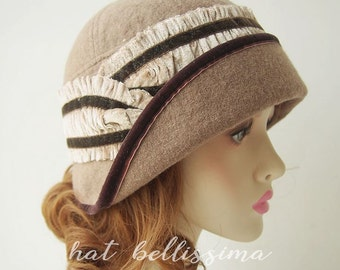 SALE Camel Colour 1920's Cloche Hat Vintage Style hat winter Hats hatbellissima ladies hats  millinery wool hats