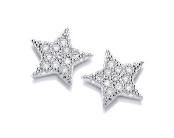 Cute Cubic Zirconia and Silver Star Earrings