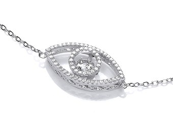 Shiva Eye Dancing Cubic Zirconia and Silver Necklace