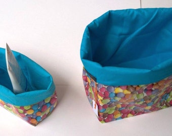 2 baskets of colourful smarties GF and PF bathroom