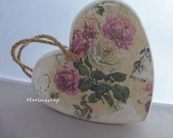 Shabby Holz Herz Rose zum Hängen, Vintage, Shabby Chick, Deko, Geschenk, Hochzeit, Geburtstag, Verlobung, Einzug,Handmade,