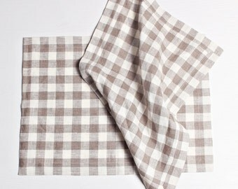 Linen Checkered Placemats, Linen Placemats, Set of 2 Table Placemats, Natural Linen, Grey Placemats, White Placemats, Checkered Placemat Set