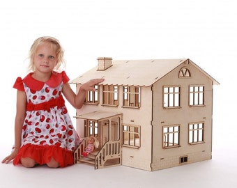 Doll house, wooden dollhouse, wood doll house without furniture, dollhouse kit, doll house for girls, open dollhouse, miniature