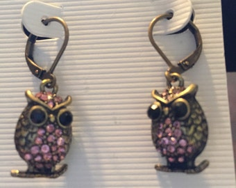 Pink/ antique gold owl earrings item # E3